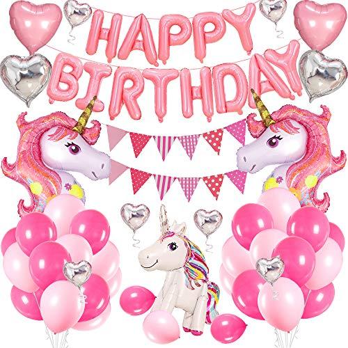 Unicornio Cumpleaños Globos, Decoracion Cumpleaños Rosa Feliz cumpleaños Conjunto de Pancartas Unicornio Globo Fiesta en Globo Decoración Chica Novia