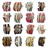 OUR SUPER DEALS Wholesale 16pcs Vintage Multilayer Multicolor Woven Leather Alloy Owl Braided Infinity Bracelets