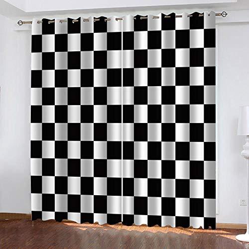 LJUKO Cortina Opaca En Cocina El Salon Dormitorios Habitación Infantil 3D Impresión Digital Ojales Cortinas Termica - -Cuadrícula Geométrica En Blanco Y Negro