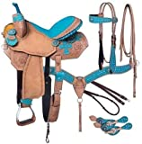 Blue Lake Premium Western Leather Barrel Racing Adult Horse Saddle Tack with Matching Leather Headstall + Breast Collar + Reins | Color : Rose Pink-Cyan | Size 16 Inches Seat Available