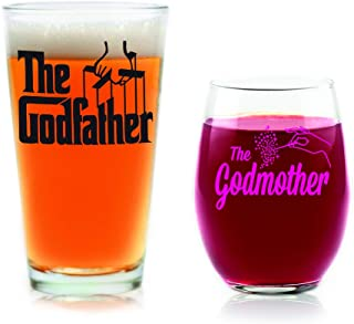 Godparent Gifts Set Godfather Pint Glass With Original Black Movie Logo And Pink Godmother Stemless Wine Glass Officially Licensed Collectible Gift From Godchild 16 15 Ounces By Movies On Glass