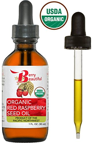 Certified Organic Red Raspberry Seed Oil - Cold Pressed by Berry Beautiful from Organically grown Raspberries - 100% Pure & Unrefined (1 fl oz)