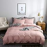 JSFN Juego de ropa de cama reversible de fibra de poliéster gris, funda nórdica de 220 x 240 cm con cremallera y 2 fundas de almohada (albaricoque, 200 x 200 cm)