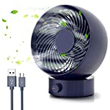 USB Fan, Tencoz Quiet USB Desk Fan with Free Speeds and Adjustable Head, Small Desktop Table Cooling Fan for Home Office Outdoors and Travel