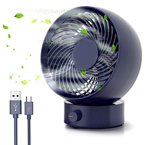 Tencoz Mini Ventilator USB, USB Mini Ventilator Tischventilator PC Ventilator 180 Arten Windgeschwindigkeit um 20 °Einstellbaren Winkel USB Lüfter Geräuscharm