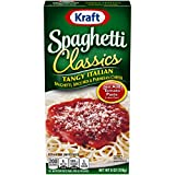 One 8 oz box of Kraft Spaghetti Classics Tangy Italian Pasta Meal This pasta meal kit contains spaghetti noodles, spice mix and parmesan cheese Just add tomato paste to prepare One Kraft spaghetti classics meal kit contains 4 servings, an easy meal t...