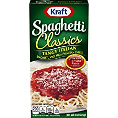 Delicious spaghetti classic Made with enriched spaghetti, dried onion, and parmesan cheese Add tomato paste Cooks in only 15 minutes Makes a great-tasting meal the whole family will love
