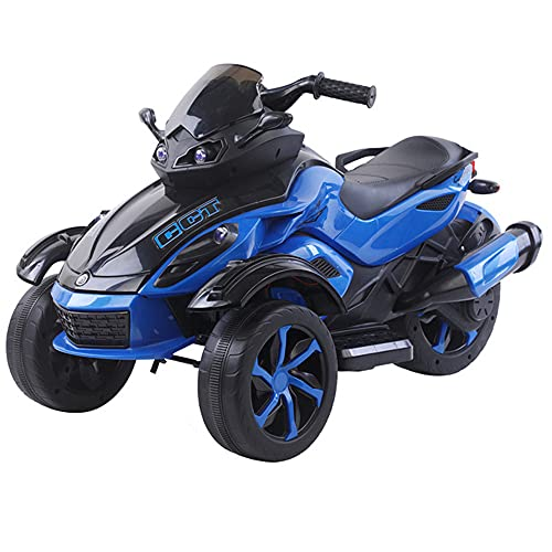 YUKM Juguete para Montar De Tres Ruedas con Pedal Eléctrico De Motocicleta De Dos Ruedas Motrices, Batería De 6 V, Kart con Faros De Cuerno De Música, Niños De 3 A 6 Años,Azul