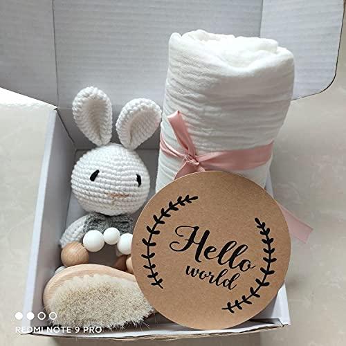 Handmade Newborn Baby Gift Set, 1 x Brush, 1 x Bunny Rattle, 1 x Bracelet,...