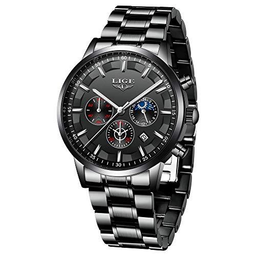LIGE Uhr Herren Beiläufig Sports Edelstahl Quartz Wasserdicht Uhr mit Chronograph Kalender Datum Schwarz Armbanduhren