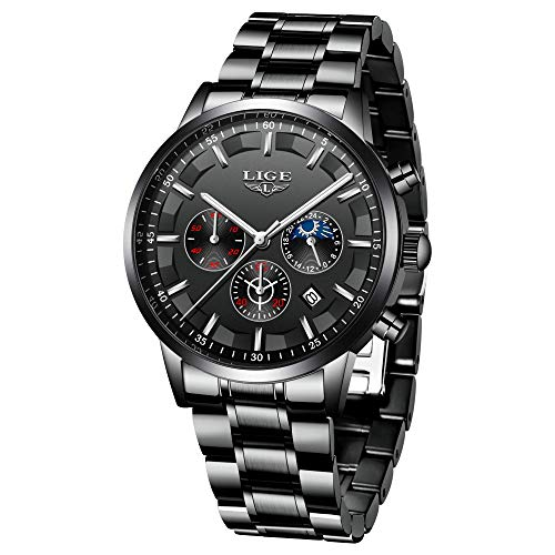 LIGE Relojes para Hombre Moda Acero Inoxidable Deportivo Analógico Reloj Cronógrafo Impermeable Negocios Reloj de Pulsera (Black Silver)