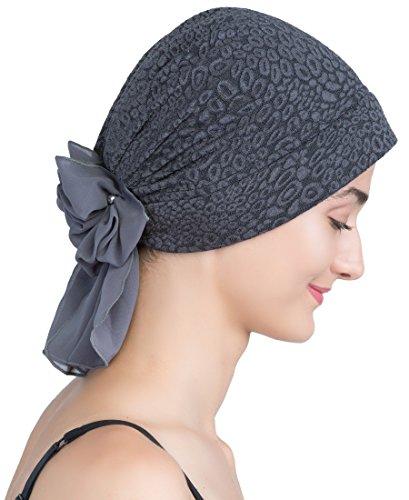 Deresina Headwear Deresina Brokat Kopftuch Mit Georgette fur Haarverlust (Charcoal)