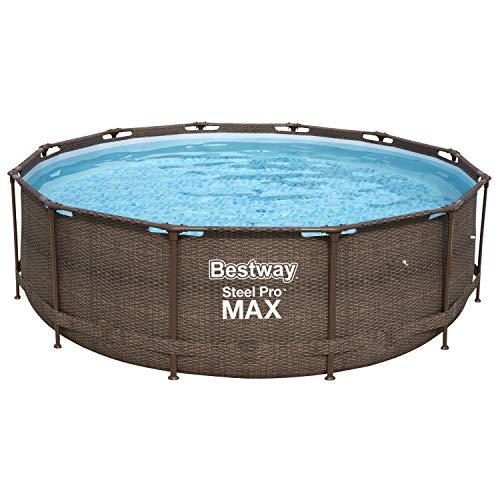 Bestway Steel Pro MAX Deluxe Series Frame-Pool, 366 x 366 x 100 cm, rund, Rattan braun, 9.150 Liter, ohne Pumpe und Zubehör, Ersatzteil, Ersatzpool