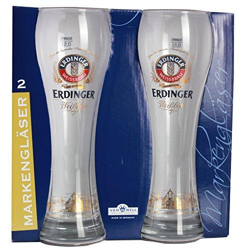 2er Set Erdinger Weißbier Weizenbierglas 0,5L mit Stadt Dekor