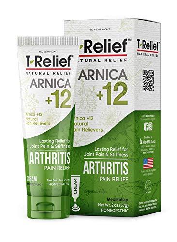 MediNatura T-Relief Arthritis Pain Relief with Arnica + 12 Active Pain Relievers- 2 oz Cream