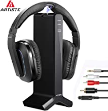 Artiste D1 Wireless TV Headphone 2.4GHz Digital Transmitter Charging Dock Headphone Headset Connection Optical Coaxial RCA with for Computer TV Radio Multiple Headphones
