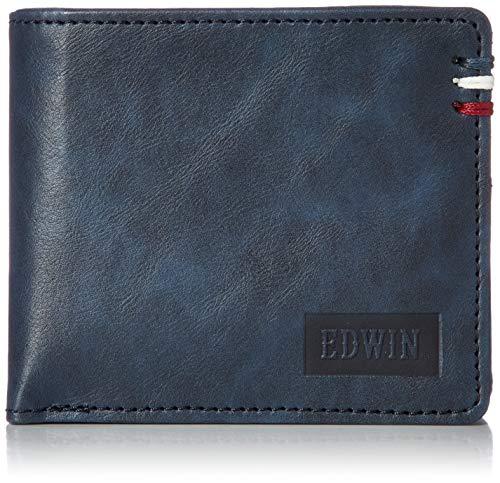 [エドウィン] 二つ折り財布 ワックスコード 合皮 紙幣収納 小銭収納 カードポケット シボ マット ネイビー