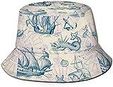 Unisex triángulo geométrico Abstracto Dorado Viaje Cubo Sombrero Verano Pescador Sombrero para el Sol-Vintage velero Monstruo Marino