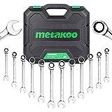 Ratcheting Wrench Set, METAKOO Combination Metric Ratchet Wrench Set with Case, 8-19 mm,12-Piece, 72 Tooth Ratchet, Chrome Vanadium Steel - MRWS01