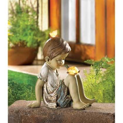 Children Statues Solar Garden Sculptures Concrete Outdoor Decor Angel Resin Lawn Yard Patio Ornament Decorative