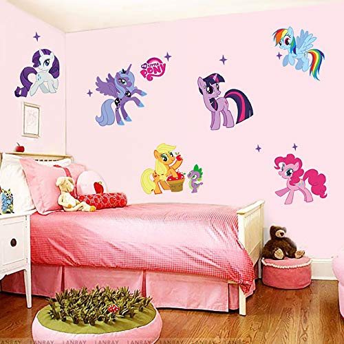GVC Cartoon My Little Pony Wandaufkleber Für Kinderzimmer Einhorn Wandaufkleber für Kinderzimmer Wandtattoos Kinder Schlafzimmer Dekor