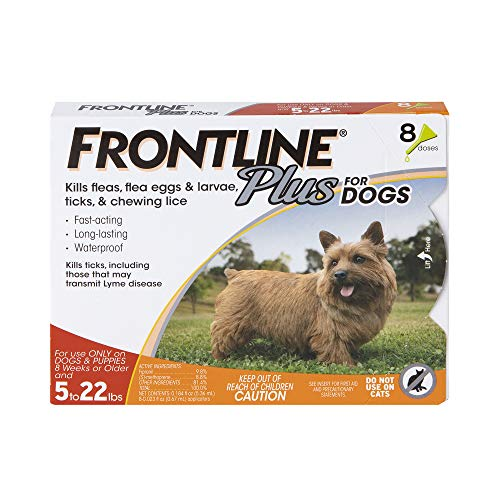 FRONTLINE Plus Flea and Tick Treatment for Dogs (Small Dog, 5-22 Pounds, 8 Doses)