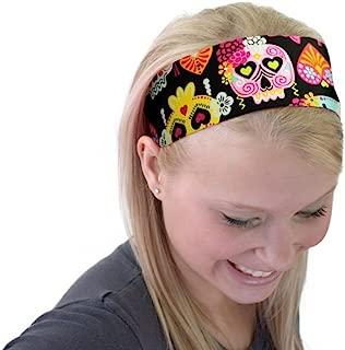 Cute Sugar Skulls Hearts and Bows Day of the Dead Soft Headband Cloth Headwrap