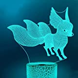 Jinson well 3D Fuchs Nachtlicht Lampe optische Nacht licht Illusion 7 Farbwechsel Touch Switch Tisch Schreibtisch Dekoration Lampen USB Spielzeug