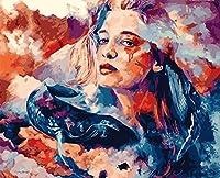 番号によるDiyペイント大人のデジタル絵画子供の油絵女性とクジラのデジタル絵画大人のデジタル絵画