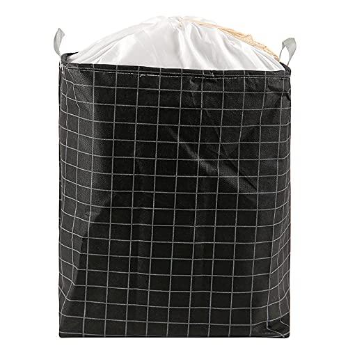Cesto De Lavandería Plegable,almacenamiento Grande Del Cesto De Ropa Con Cordón Con Asas De Cuerda De Algodón,para Organización De Ropa,Black-40(L)*55(H)*40(D) cm