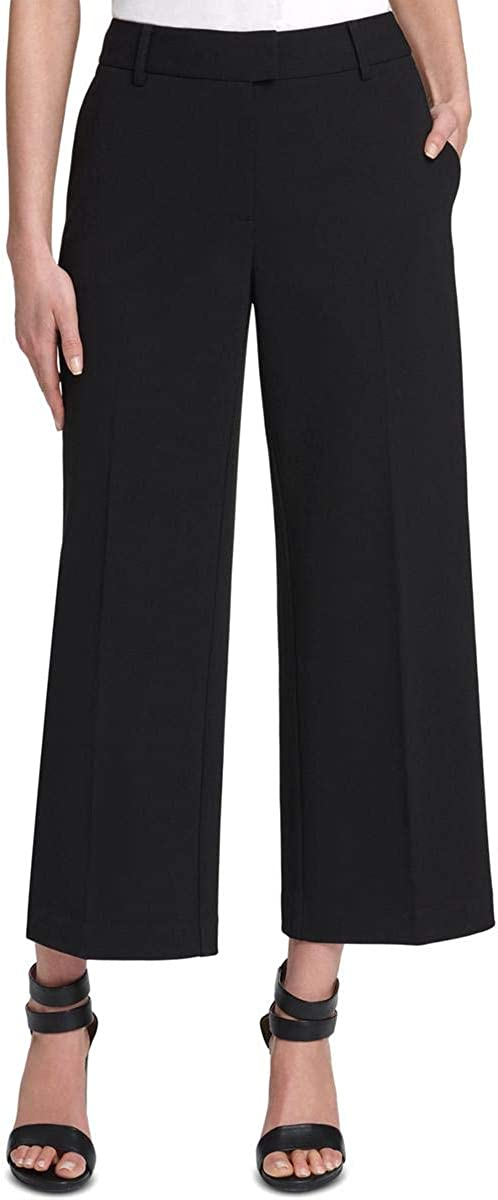 DKNY Womens Black Pocketed Wide Leg Wear to Work Pants Size 14P
