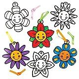 "Baker Ross Suncatcher-Anhänger-Bastelsets ""Lachende Blumen"" für Kinder zum Bemalen – Kreatives Frühlings-Bastelset für Kinder (8 Stück) -"