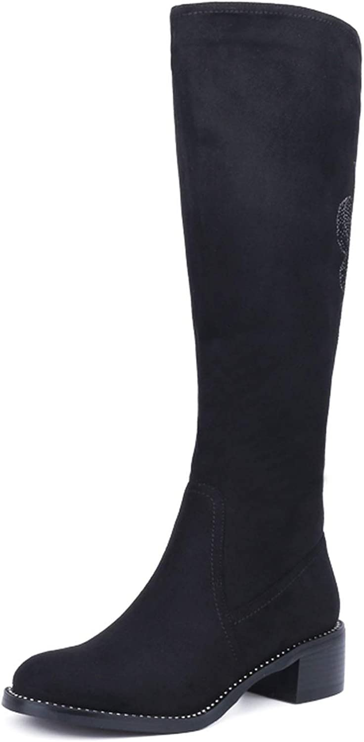 Can't be satisfied Women's Winter shoes Warm Leather Knee Boots Large Size
