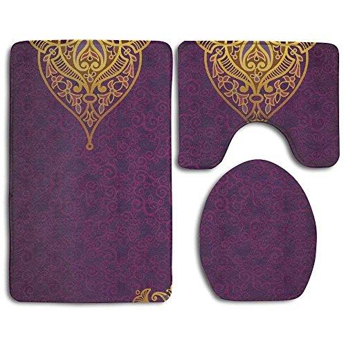 Orientalisches Royal Palace-Muster mit böhmischem Stil, traditioneller Hochzeit, violett-gold, Badezimmerteppich, 3-teiliges Set