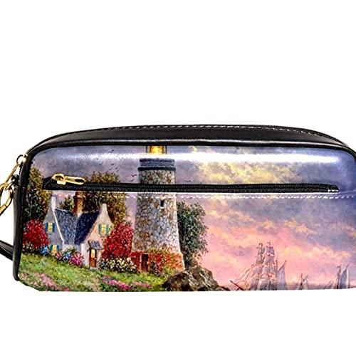 Estuche para lápices Marcador Bolígrafo Bolsa Organizador de escritorio Faro Luz Pintura Sunset Bolsa de almacenamiento
