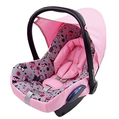 BAMBINIWELT Ersatzbezug für Maxi-Cosi CabrioFix 6-tlg, Bezug für Babyschale, Komplett-Set EULE $12 ROSA XX