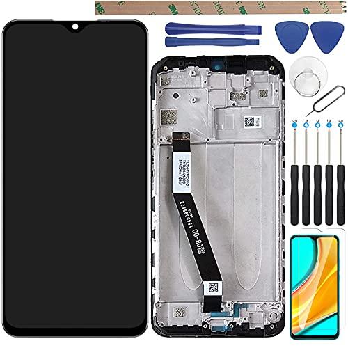 YHX-OU 6,53 pulgadas para Xiaomi Redmi 9 de reparación y sustitución LCD Pantalla táctil digitalizador con herramientas incluidas, 1 pieza de cristal templado (negro + marco).