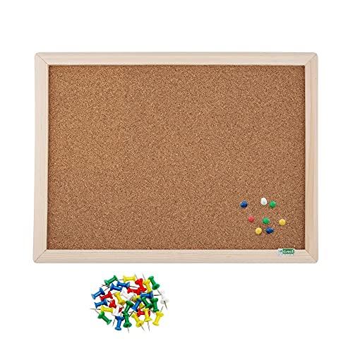 D.RECT Juego de tablón de anuncios de corcho con marco de madera con chinchetas multicolor, 35 unidades, pizarra de corcho, marco natural, 30 x 40 cm