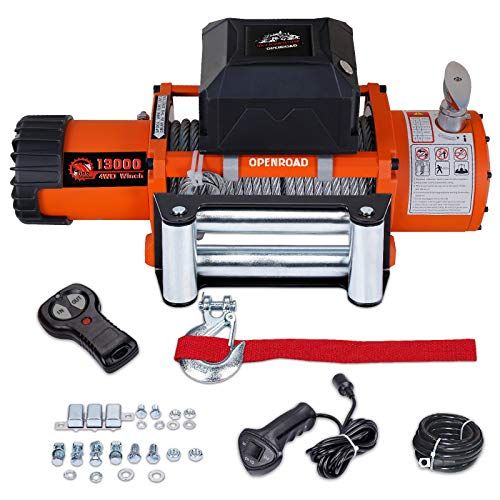 OPENROAD 13000lbs Electric Winch with 26m Synthetic Rope, 12V Waterproof 4WD Winch Recovery Kit, Come with Fairlead, Wireless Handhold Remote Control Truck Winch,Overload Protector(Up to 13500lbs)