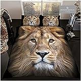 Gaveno Cavailia Luxury 3D Wildlife - Set copripiumino e federe per letto super morbido Apex Predator, in policotone per letto matrimoniale, 50% poliestere, fronte leone
