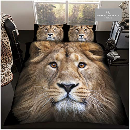 GAVENO CAVAILIA Luxury 3D Wildlife Duvet Set, Easy Care Quilt Cover and Pillowcases, Super Soft Apex Predator Bedding, Poly-Cotton, Double Size, 50% Polyester, Lion Face