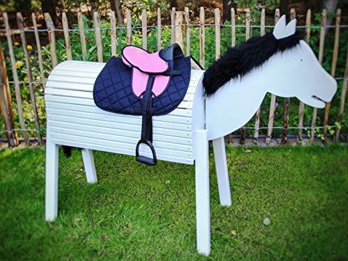 Holzbriketts Rheine Kinder Shetty Sattelset komplett für Holzpferd - My Little Pony (Sattel rosa/Schabracke schwarz)