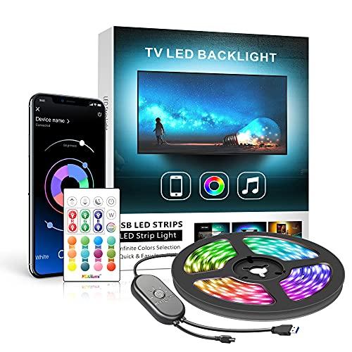 Ruban Led TV 2M, Mexllex Led Ruban Bande Lumineuse Led 5050 RGB SMD Multicouleur Rétroéclairage TV avec Télécommande App pour 32'-60'HDTV, Alimenté par USB