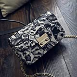Bolso de Moda para Mujer Bolso Cuadrado pequeño de Estilo Coreano Bolso de Cadena de un Solo Hombro con Cadena de Bloqueo Negro
