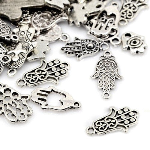 30 Gramm Antik Silber Tibetanische ZufälligeMischung Charms (Hand) - (HA12925) - Charming Beads
