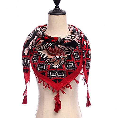 Yufshu damesjaal van katoen, vierkant, zacht, warm, lente, winter, voor dames, Pashmina, bandana, grote afmetingen 110 x 110 cm Wijn Rood