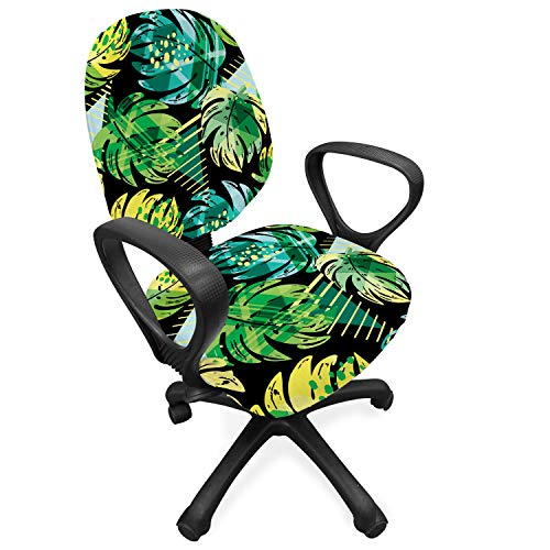 Lunarable Tropical Office Chair Slipcover, Monstera Coconut Palm Banana Tree Leaf Vibrant Jungle Doodle Grunge Graphic, Protective Stretch Decorative Fabric Cover, Standard Size, Jade Green