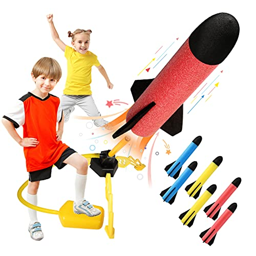 REFUN Toy Rocket Launcher for Kids with 6 Foam Rockets and Toy Air Rocket...