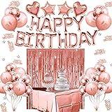 Decorazioni per Feste di Compleanno, Set di Forniture per Feste in Oro Rosa Buon Compleann...