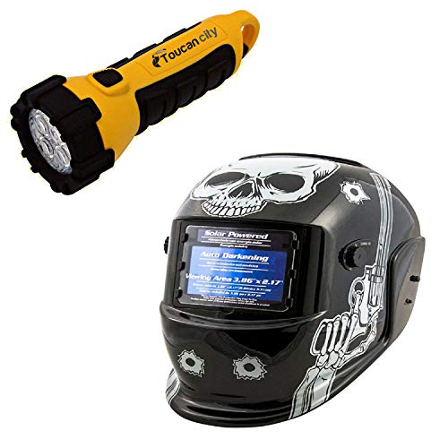 Toucan City LED Flashlight and TITAN Auto Darkening Welding Helmet with Skull and Pistols Design TIT41282